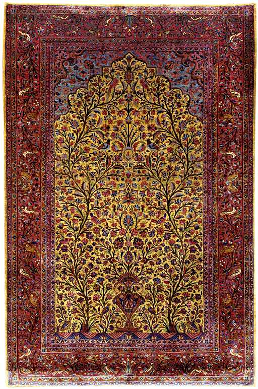 Kashan Rugs Silk Kashan Prayer Rug C 1900 Lot 12