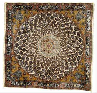 Tabriz Rugs: Architectural A Part Silk Tabriz Carpet Mosque Dome Design mid 20th C. Lot 129